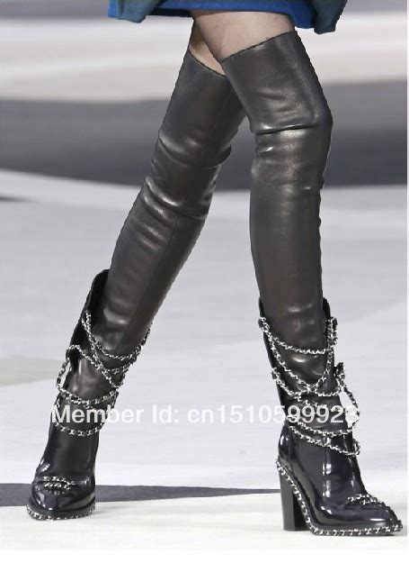 thigh high boots with chains yu boots