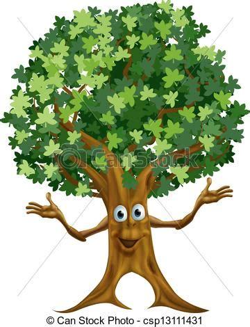 alberi clipart vettori di albero carattere cartone animato