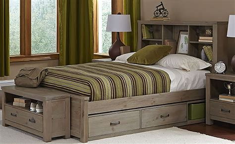 full panel bed highlands driftwood bookcase full panel bed with two storage units 10065n2s ne kids