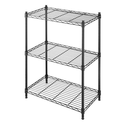 Kitchen Cabinets To The Ceiling by Small 3 Shelf Storage Rack Shelving Unit In Black Metal