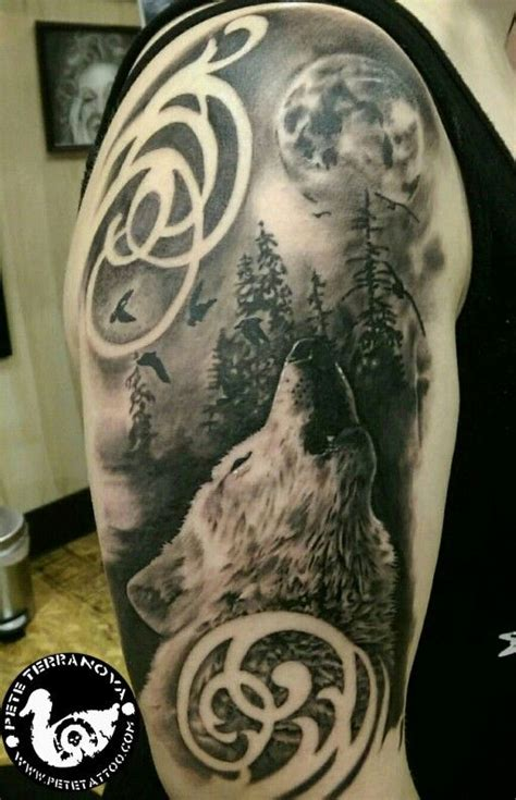 wolf and moon tattoo black and gray howling wolf moon and trees custom