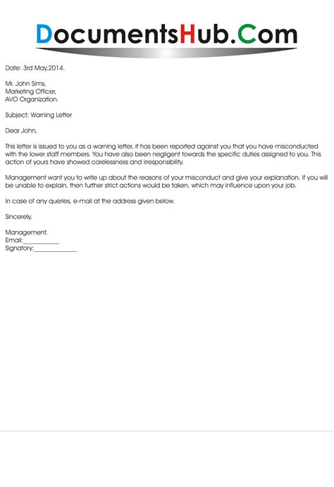 Explanation Letter To Employer For Misconduct Warning Letter For Employee Sle Documentshub