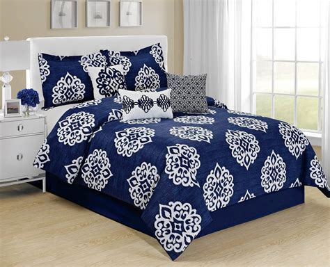 Homechoice Comforters by Homechoice 7 Pc Mandy Blue White Medallion Bed In A Bag