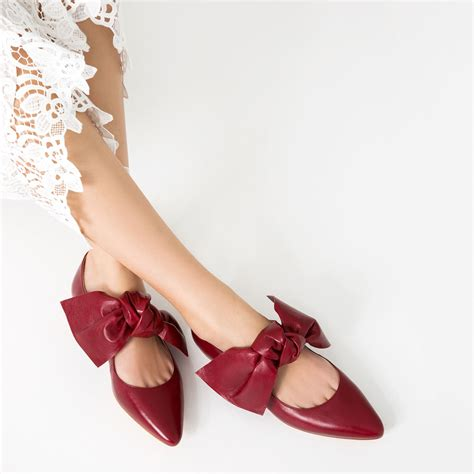 Bow Zara by Flat Leather Shoes With Bow Shoes Collection Aw16