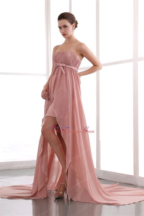 salmon colored dress salmon pink custom fit ruched high low chiffon prom dress