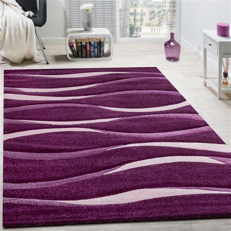 tappeti lilla tappeto moderno soggiorno pelo corto motivo onde bianco