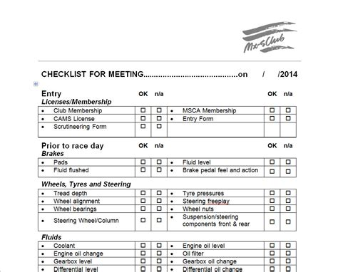checklist for motorsport checklist mx5 sa au