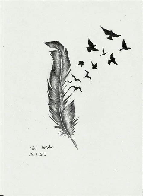 feather with birds flying out tattoo collection of 25 birds of a feather sketch