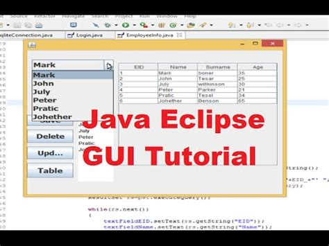 tutorial java db eclipse java eclipse gui tutorial 9 populate jtable data from
