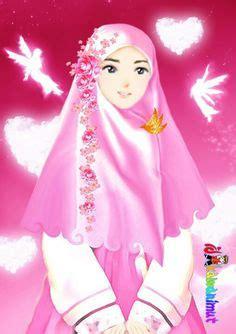 gambar kartun wanita muslimah berjilbab cantik  anggun