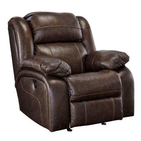 branton leather power rocker recliner in antique
