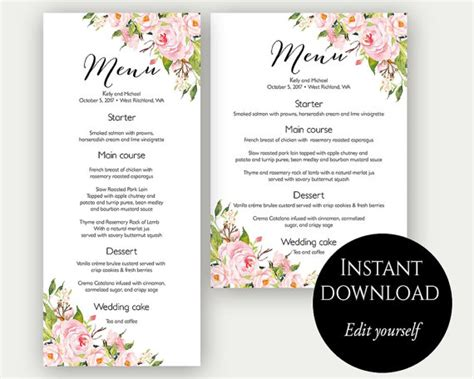 bridal shower menu template menu template wedding menu menu cards editable menu menu