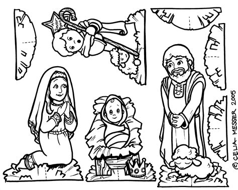 printable nativity scene to color nativity coloring pages for kids catechism pinterest