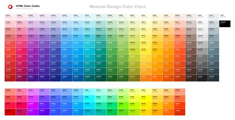 html color material design color chart html color codes