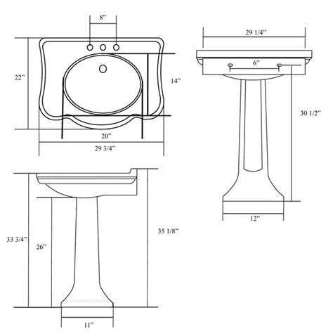 Pedestal Sink Dimensions Specialty Lavatory Faucets Sinks Accessories