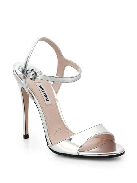 strappy silver sandals lyst miu miu metallic leather strappy sandals in metallic