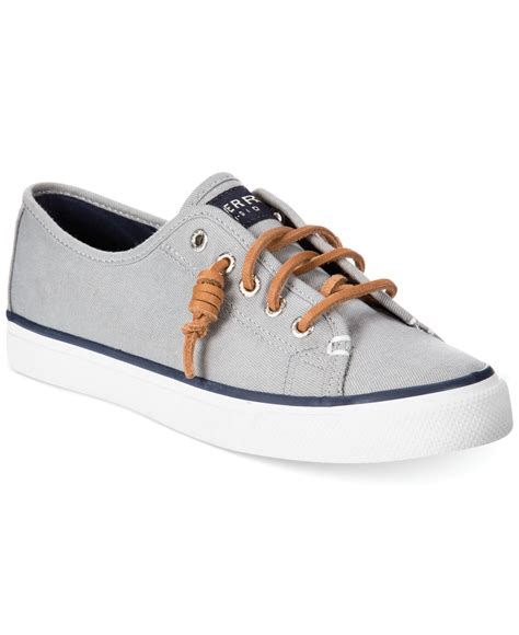 sperry top sider s seacoast canvas sneakers in gray