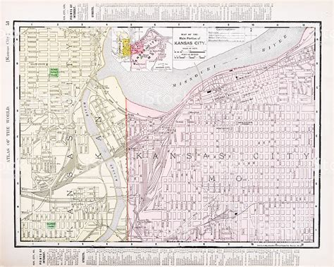 kansas city missouri map usa detailed antique vintage color map kansas city