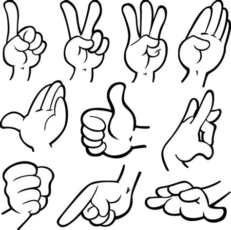 vector hand tutorial hand gestures vector material my free photoshop world