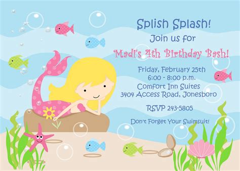Mermaid Birthday Invitation Template free mermaid birthday templates invitations ideas