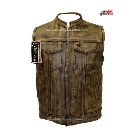 leather motorcycle accessories men s distressed brown leather motorcycle club vest