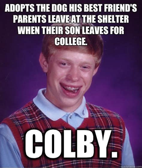 Colby Meme - adopts the dog his best friend s parents leave at the