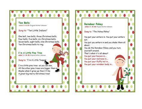 fun christmas songs to do children preschool printables