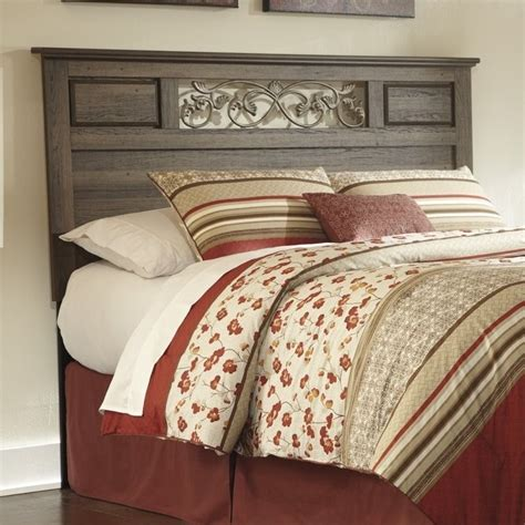 wood headboard full ashley allymore wood full queen panel headboard in brown