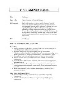 Sle Bookkeeper Resume Responsibilities Freelance Resume Sle Charge Bookkeeper 28 Images Functional Resume For Bookkeeper Freelance