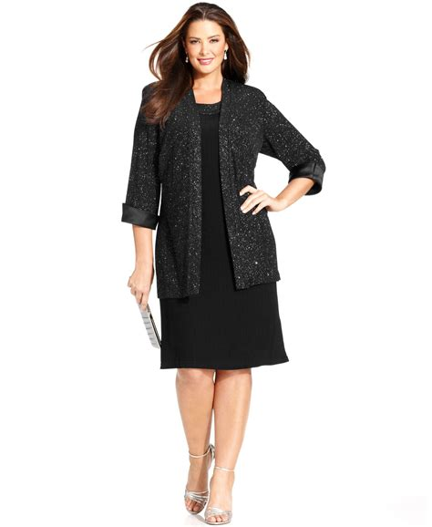 r m richards dresses r m richards r m richards plus size metallic shift dress and jacket in black lyst