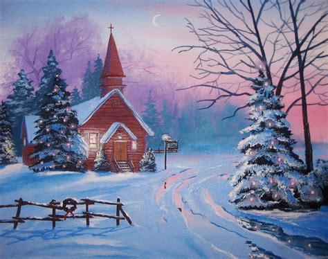 Images Of Christmas In The Country   church in the country christmas 8 x 10 original thomas justin