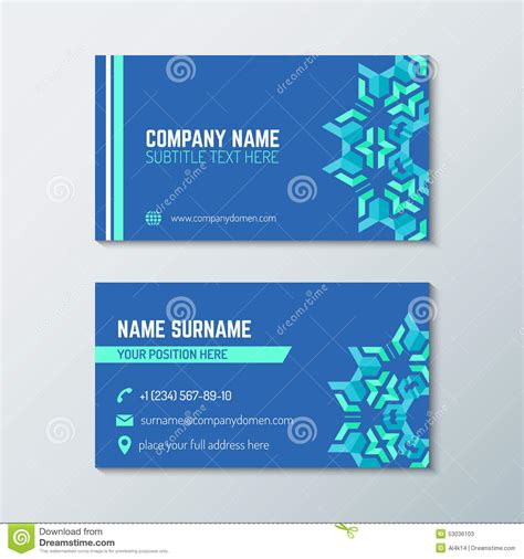 business card back template blue green abstract business card template stock vector