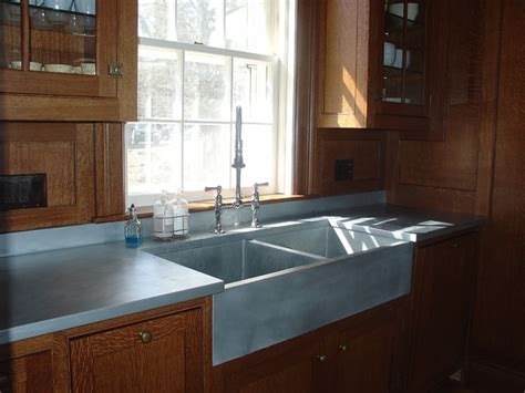 zinc countertop matte finish traditional kitchen