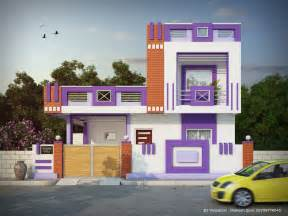 small house pink purple color combination elevation