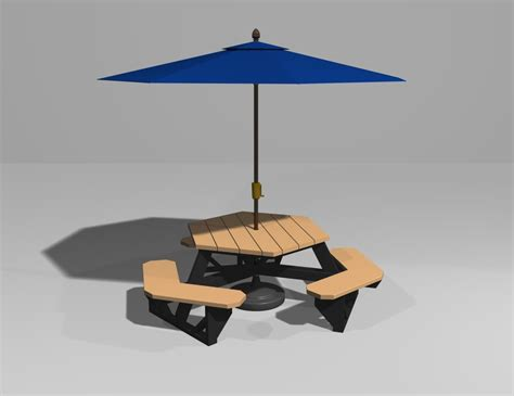 picnic table with umbrella access hexagon picnic table plans with umbrella easy project