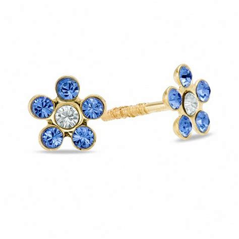 child s blue flower stud earrings in 10k gold gemstone