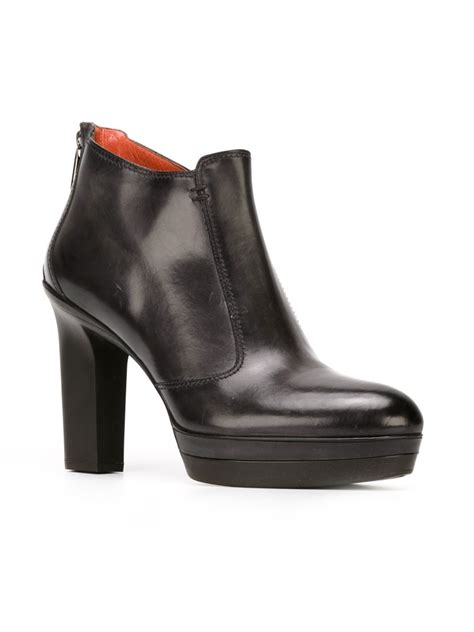 santoni chunky heel ankle boots in black lyst