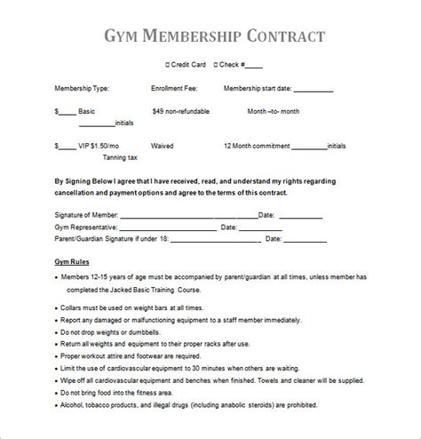 Gym Contract Template 14 Free Word Pdf Documents Download Free Premium Templates Monthly Membership Agreement Template