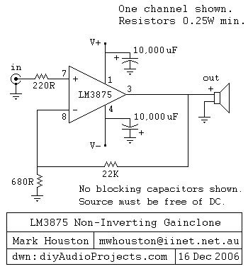 transistor a933 datasheet point to point p2p lm3875 ic non inverting gainclone chip
