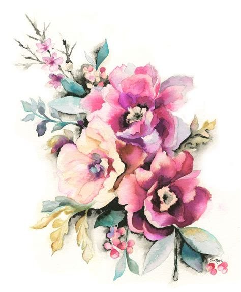 water color flowers erin illustration peony floral watercolor