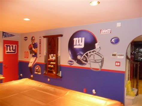 ny giants bedroom n y giants theme game room painting the hubby s man cave