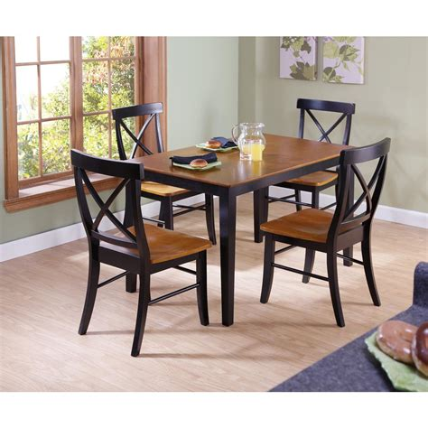 international concepts dining essentials 5 black and cherry solid wood set k57 3048 c 613