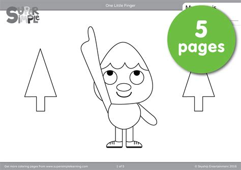 color finger one finger coloring pages simple
