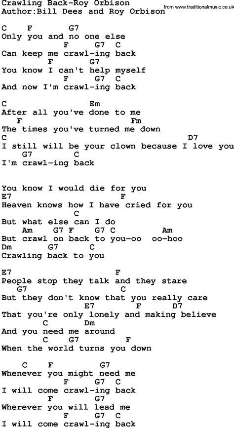 crawling back to you mp3 song download country music crawling back roy orbison lyrics and chords