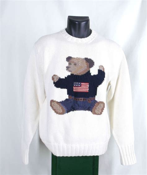 Teddy Sweater polo ralph teddy sweater mens s ivory white crewneck american flag ralph