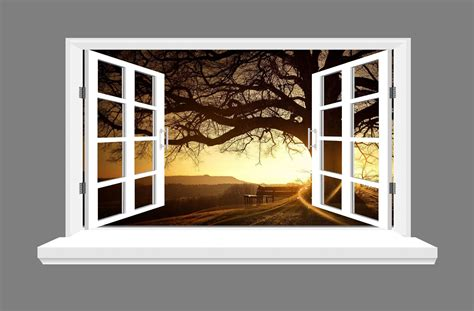 Tree Silhouette Wall Sticker tree bench and sunset 3d window view wall art sticker