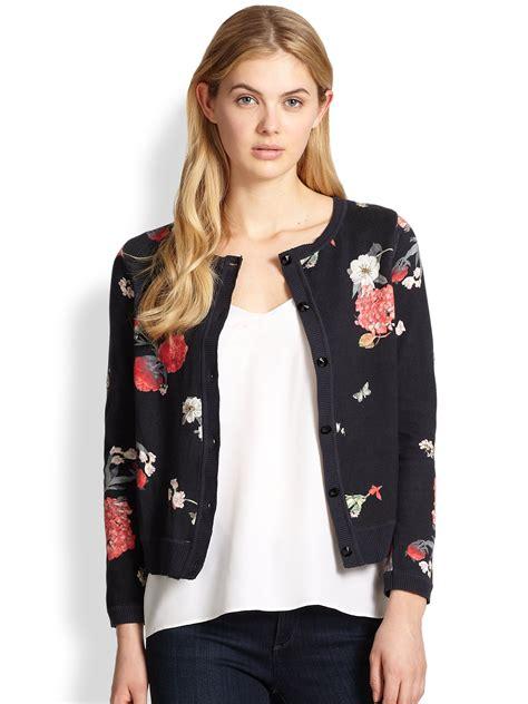 Flower Black Sweater 1 lyst beaded floral cardigan sweater