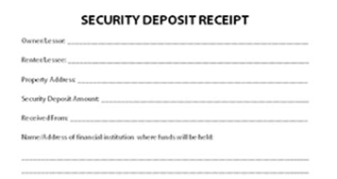Security Deposit Receipt Template Uk by Deposit Receipt Template Uk Receipt Template