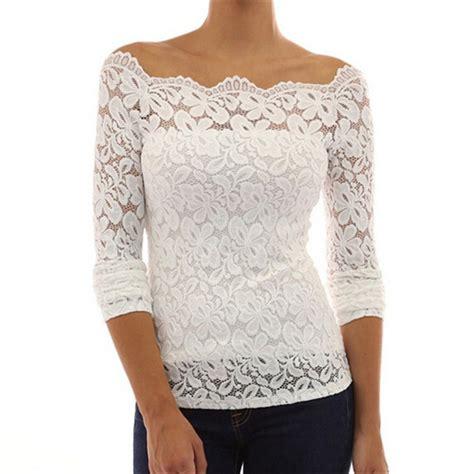 Blouse Sabrina Top Shoulder Blouse fashion shoulder white lace crochet blouses sleeve casual basic chiffon