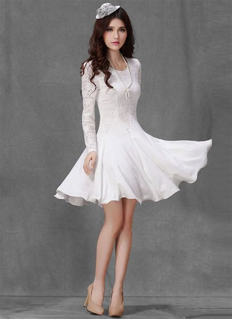 Orange Dress 15774 white lace fit flare mini dress with sleeves white lace dress robeplus